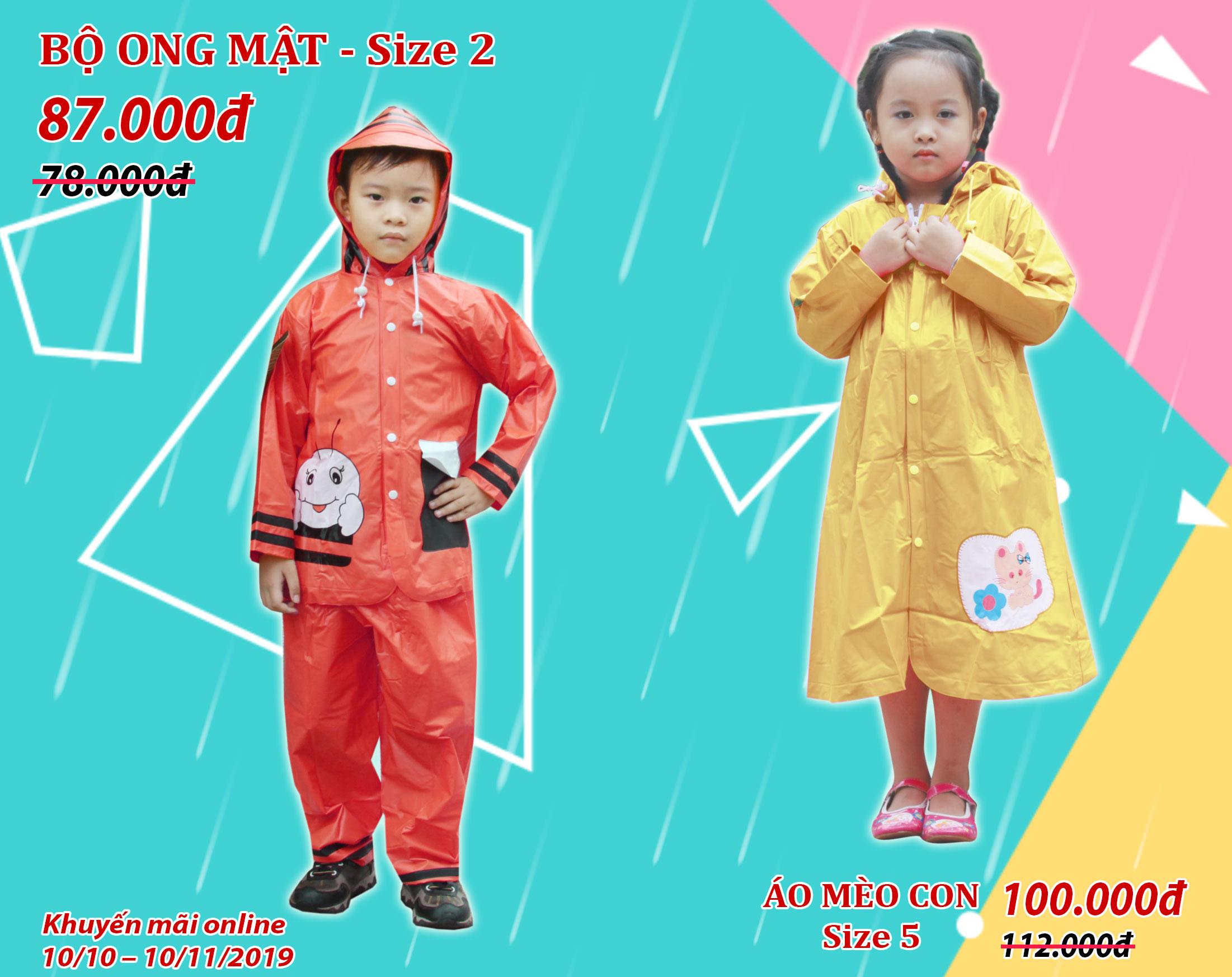 Áo mưa trẻ em khuyến mãi tháng 10 - RANDO
