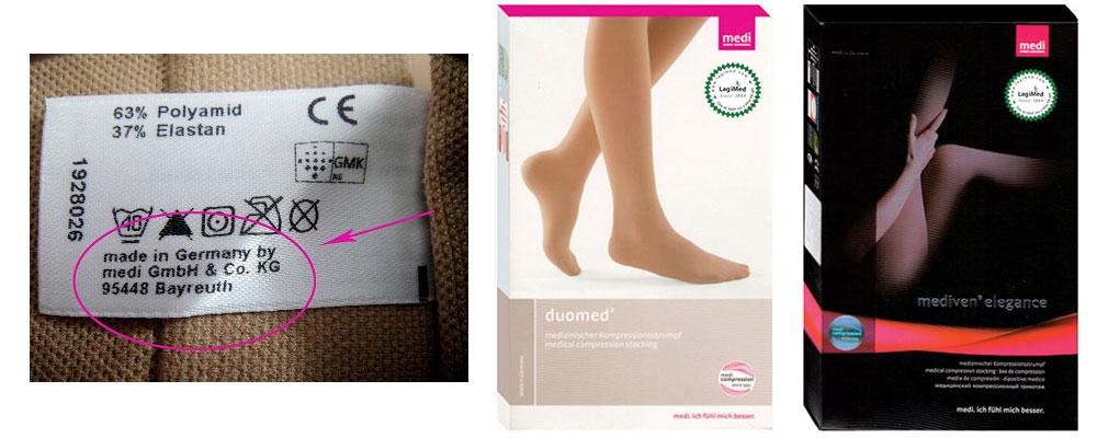 """""""Made in"""" được in trên nhãn phụ bằng vải, may dính trên miệng vớ - Trên hộp vớ đều có dán tem tròn răng cưa của LagiMed, chứng thực hàng do chúng tôi nhập khẩu trực tiếp từ Đức."""