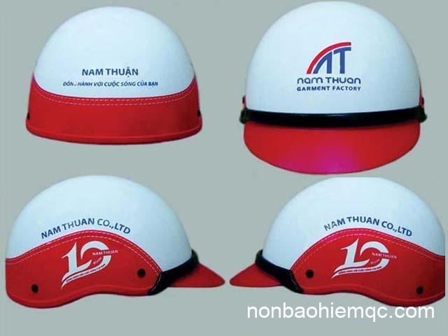 Mẫu nón bảo hiểm quảng cáo có bọc da