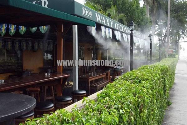 Hệ thống phun sương Hawin được sử dụng ở quán café tại Trà Vinh