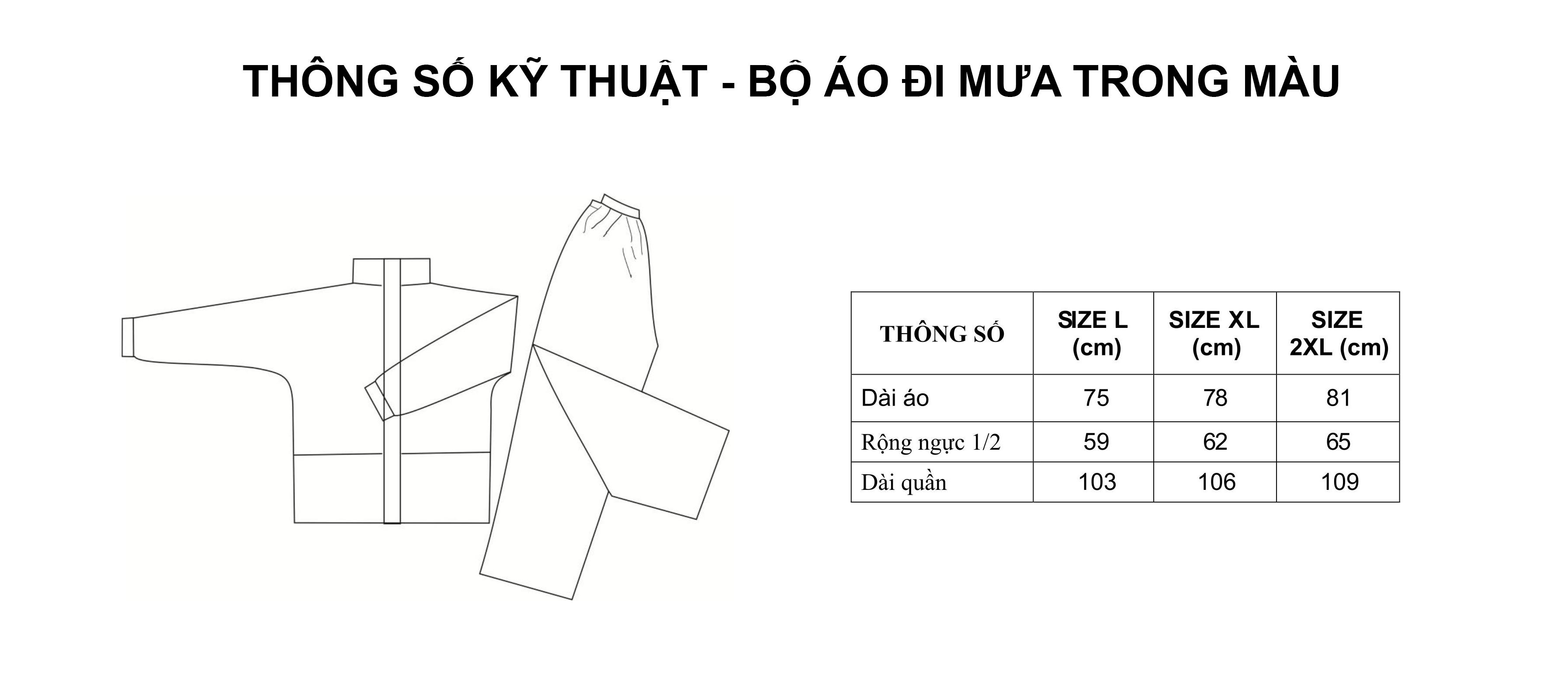 Thông số kỹ thuật bộ áo mưa trong màu - RANDO