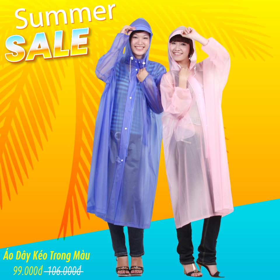 Áo mưa dây kéo trong màu RANDO khuyến mãi tháng 6 2020
