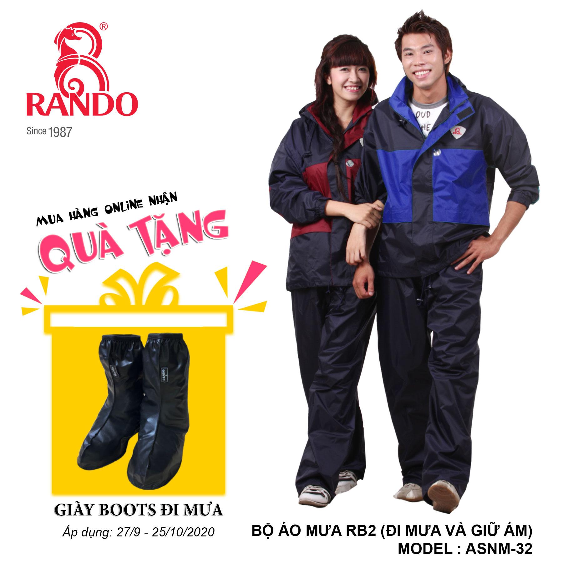 Mua bộ áo mưa RB2 tặng GIÀY BOOTS đi mưa RANDO