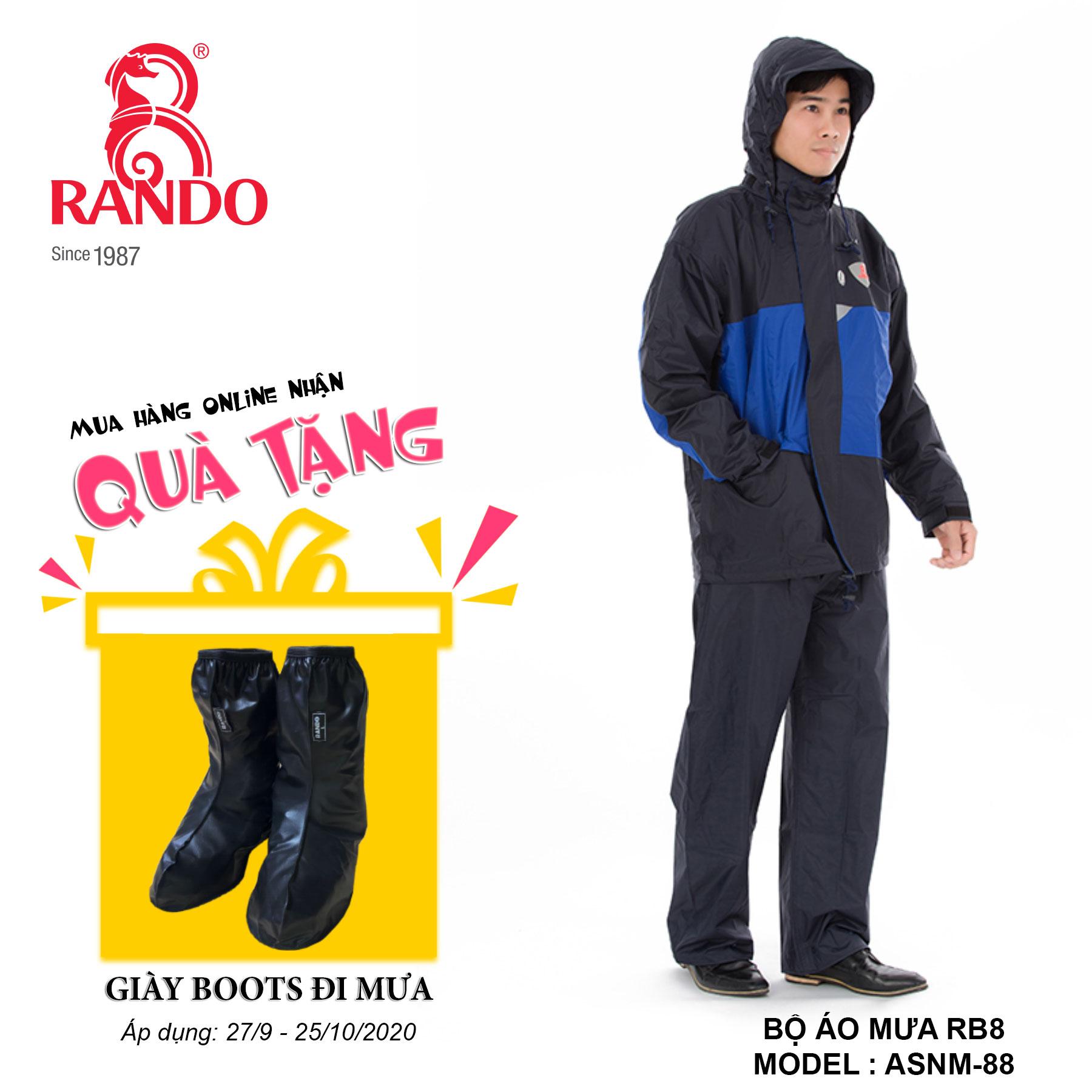 Mua bộ áo mưa RB8 tặng GIÀY BOOTS đi mưa RANDO