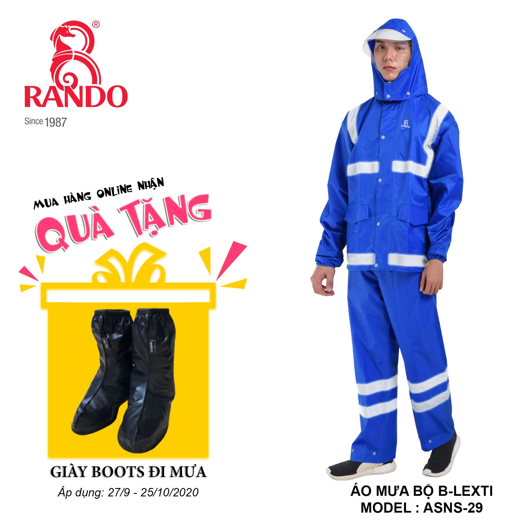 Mua bộ áo mưa B-LEXTI tặng GIÀY BOOTS đi mưa RANDO